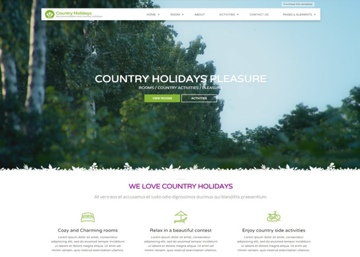 CountryHolidays – Premium Responsive Country Hotel and Bed WordPress Theme