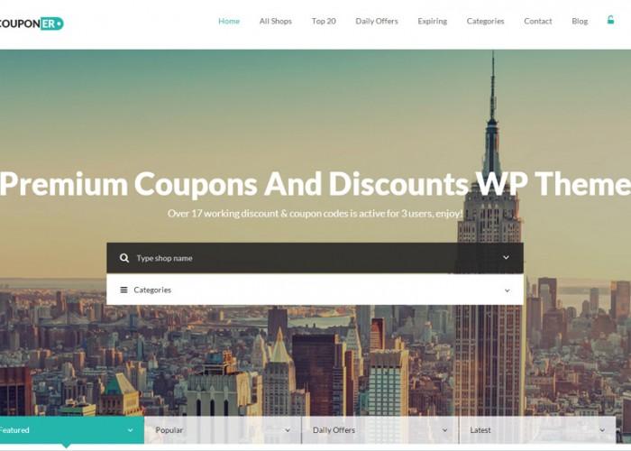 Couponer – Premium Responsive Coupons & Discounts WordPress Theme