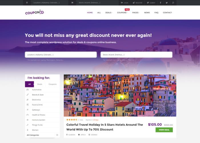 CouponXL – Premium Responsive Coupons, Deals & Discounts WordPress Theme