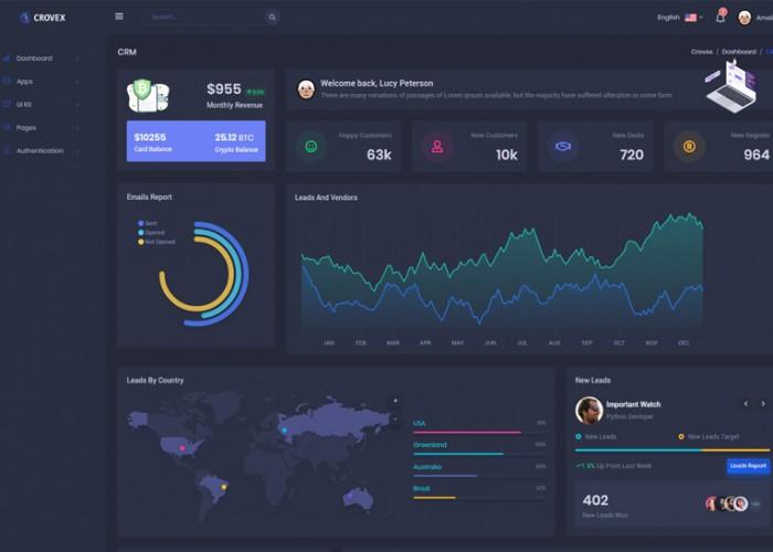 Crovex – Premium Responsive Admin Dashboard HTML5 Template