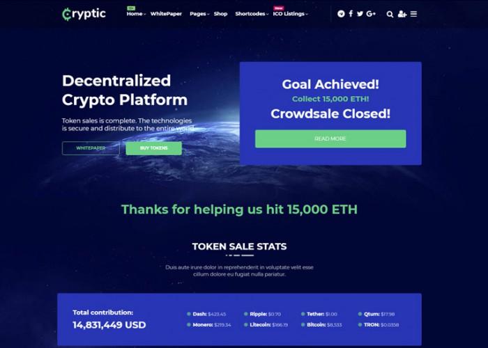 Cryptic – Premium Responsive Cryptocurrency WordPress Theme