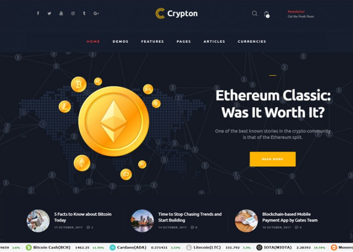 Crypton – Premium Responsive Cryptocurrency WordPress Theme