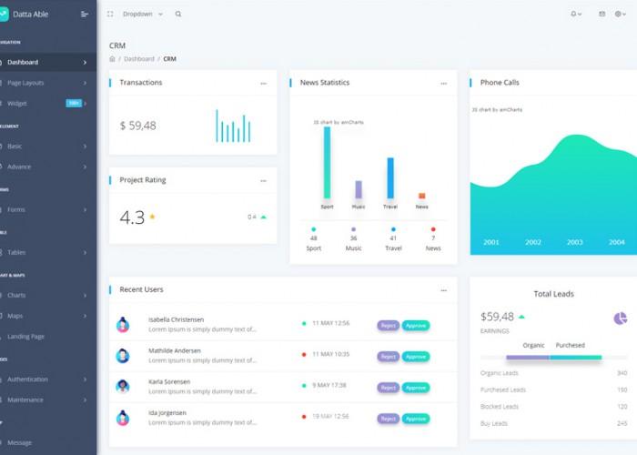 Datta Able – Premium Responsive Angular 7 Admin HTML5 Template