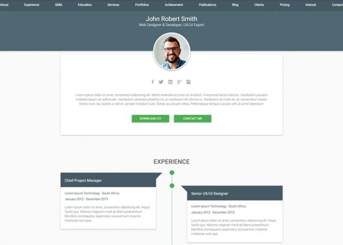 Decent – Premium Responsive Material CV & Resume HTML5 Template