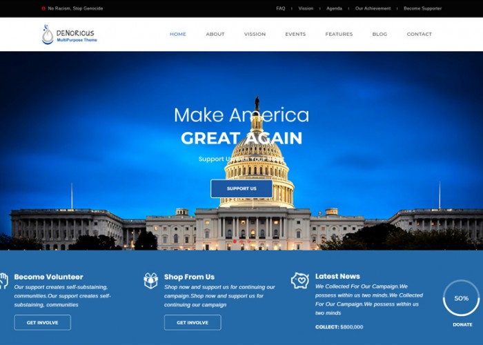 Denorious – Premium Responsive Nonprofit and Political WordPress Theme