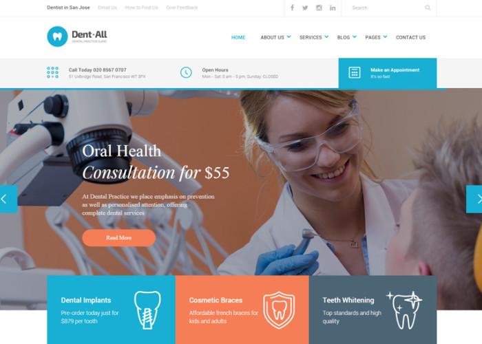 Dent-All – Premium Responsive Dental Practice WordPress Theme
