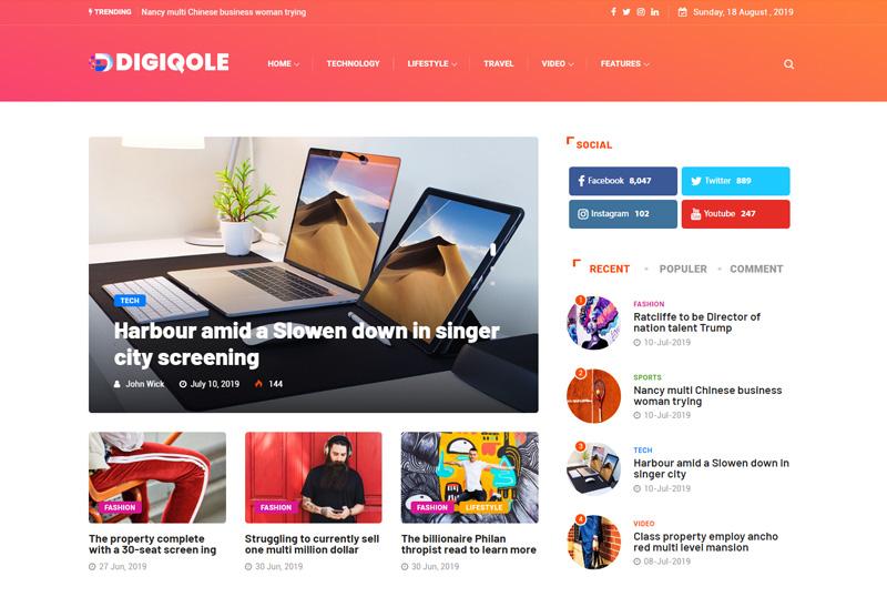 Digiqole - Premium Responsive News Magazine WordPress Theme