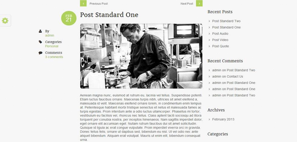 Single post page
