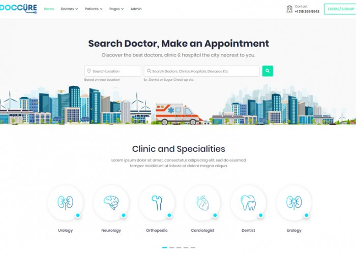 Doccure – Premium Responsive Doctor Appointment HTML5 Template