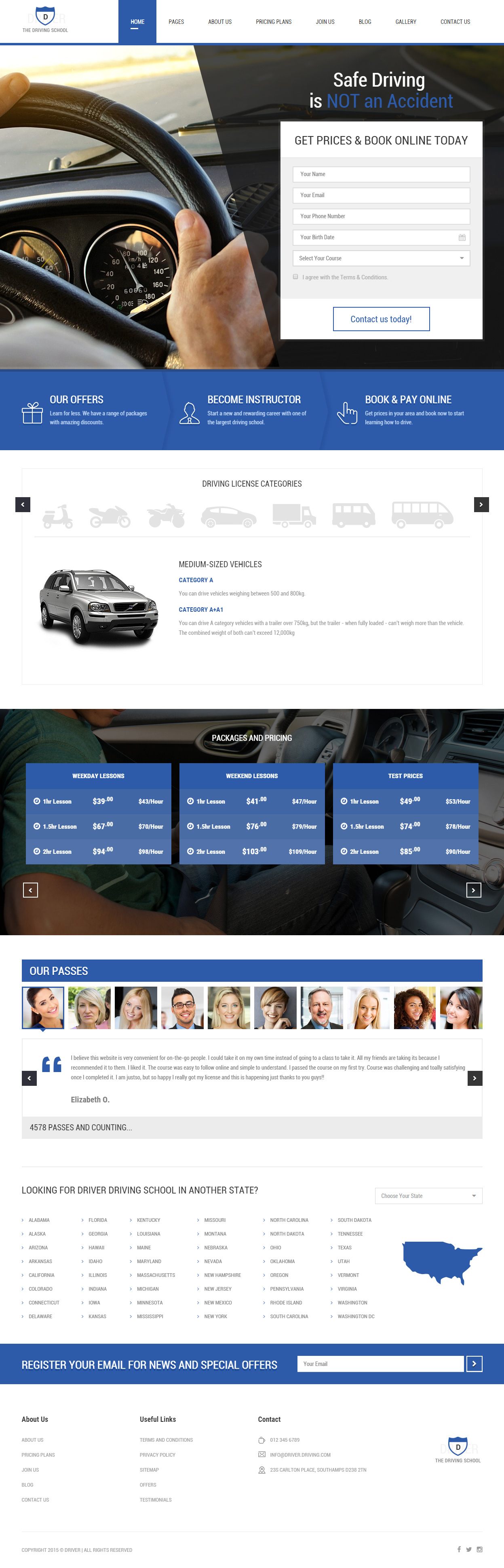 best responsive driving school html5 templates in 2015 responsive
