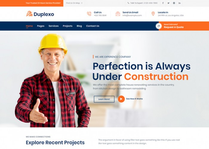 Duplexo – Premium Responsive Construction Company WordPress Theme