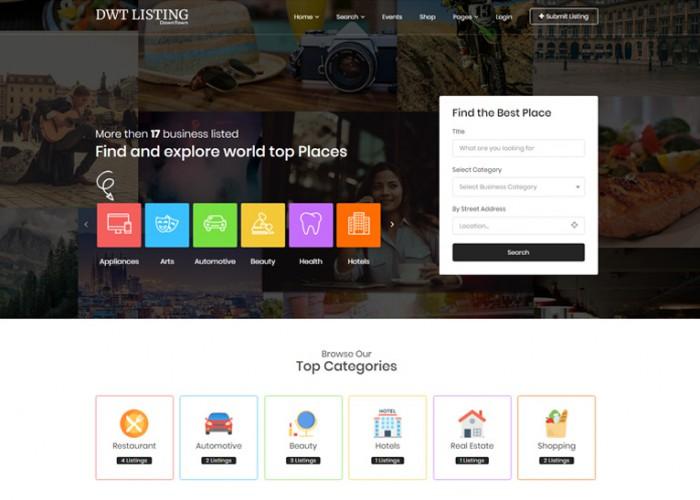 DWT Listing – Premium Responsive Directory & Listing WordPress Theme