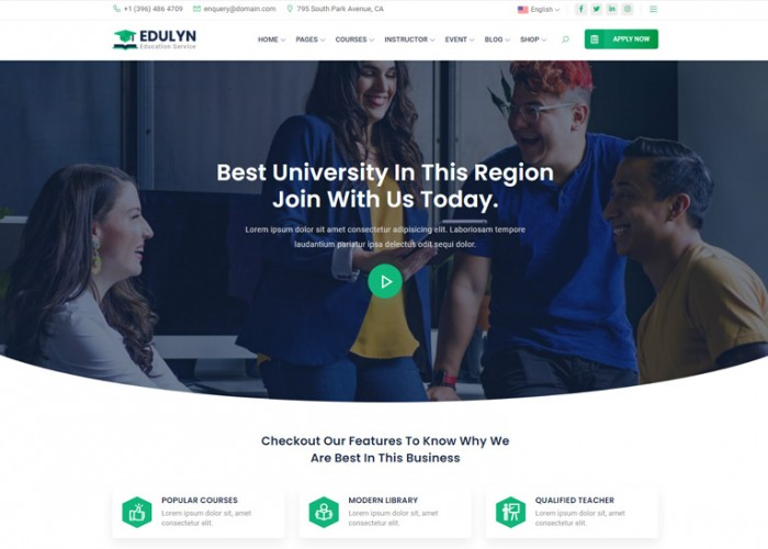 Edulyn – Premium Responsive React Education HTML5 Template