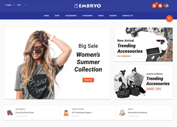 Embryo – Premium Responsive Angular eCommerce HTML5 Template