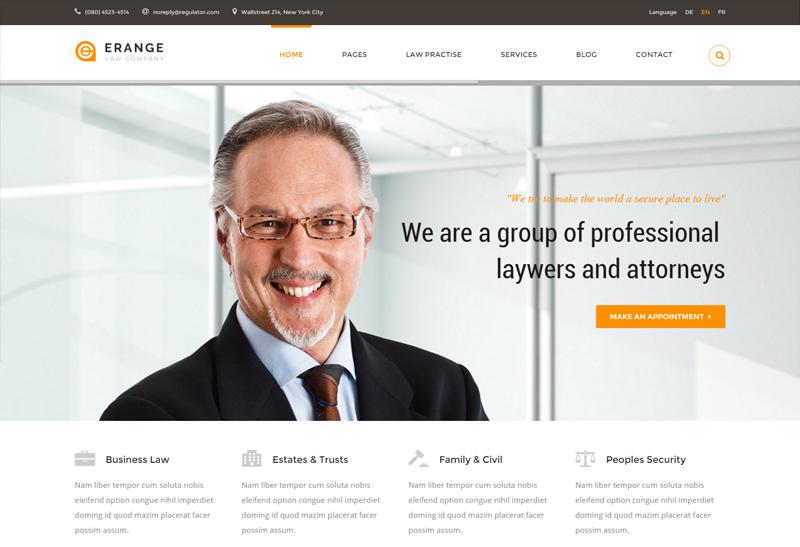 erange premium responsive html template for law firm. Black Bedroom Furniture Sets. Home Design Ideas