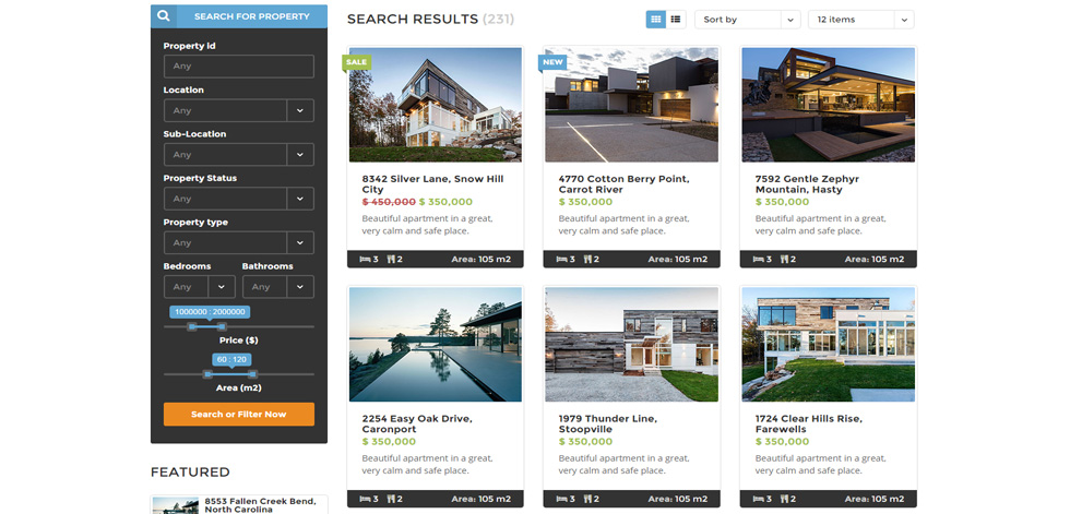 Properties page