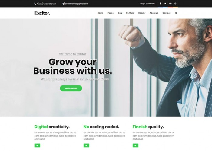 Excitor – Premium Responsive Business Consulting WordPress Themes