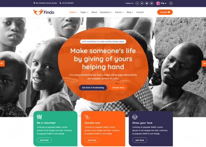 Findo – Premium Responsive Fundraising & Charity HTML5 Template