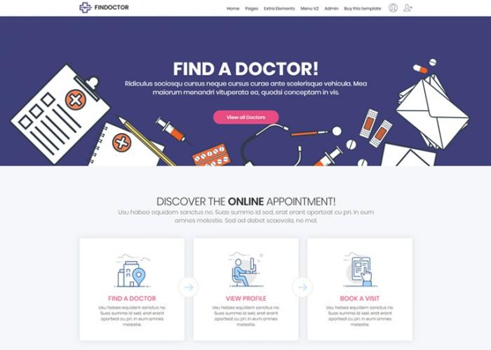 FINDOCTOR – Premium Responsive Doctors Directory HTML5 Template