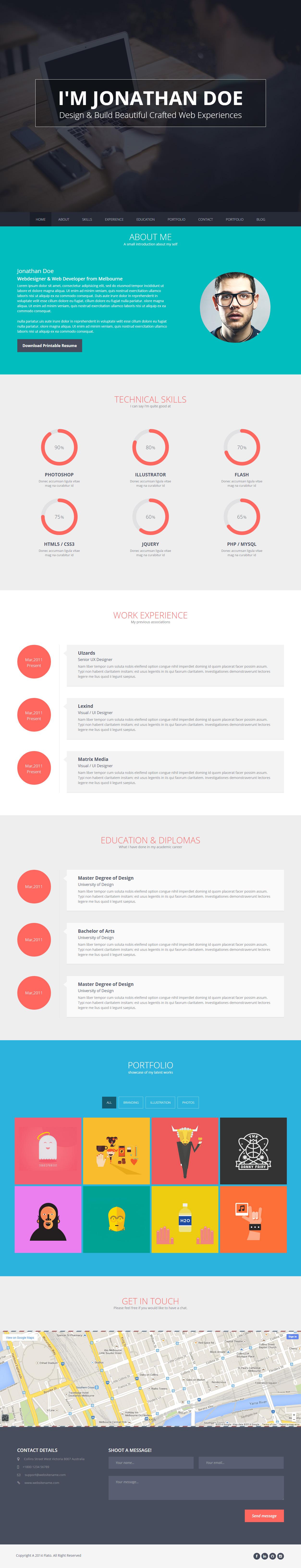 Flatoo Premium Responsive Vcard Wordpress Theme
