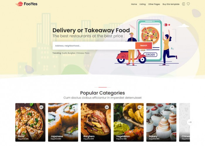 FooYes – Premium Responsive Delivery Takeaway Food HTML5 Template