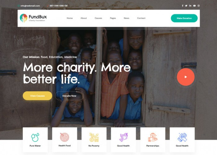 FundBux – Premium Responsive Charity & Fundraise HTML5 Template