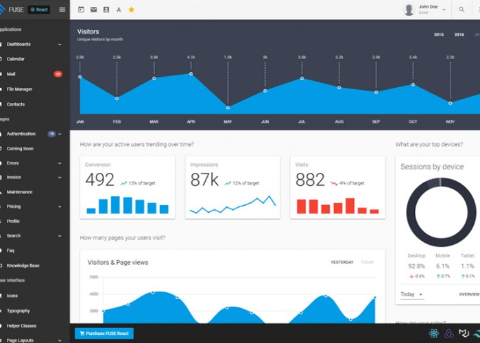 Fuse React – Premium Responsive React Redux Admin HTML5 Template