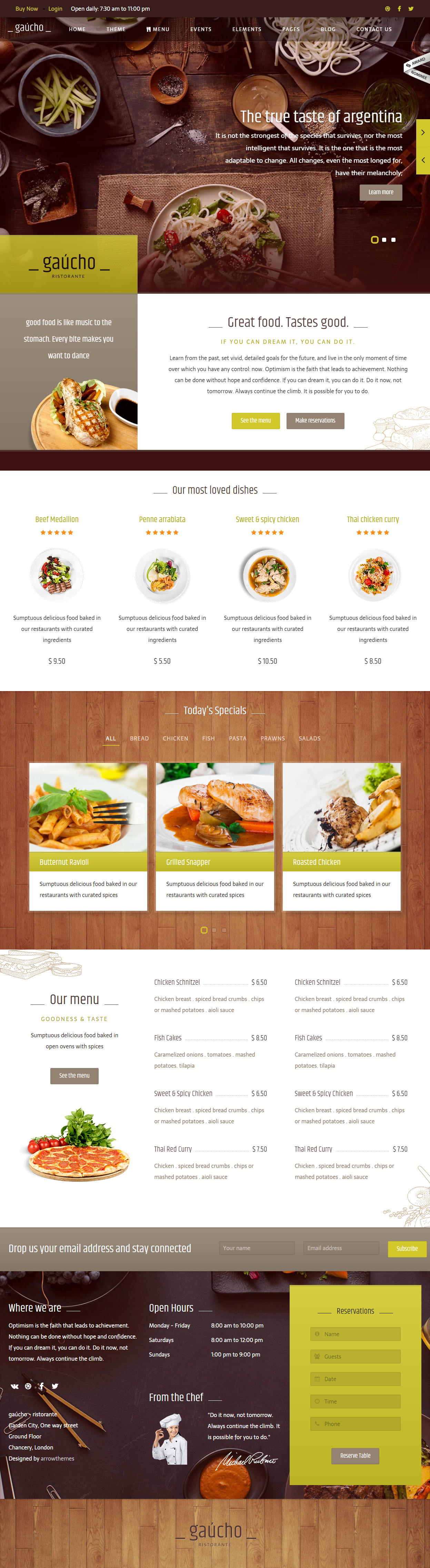 Gaucho Cafe And Restaurant Website Templates