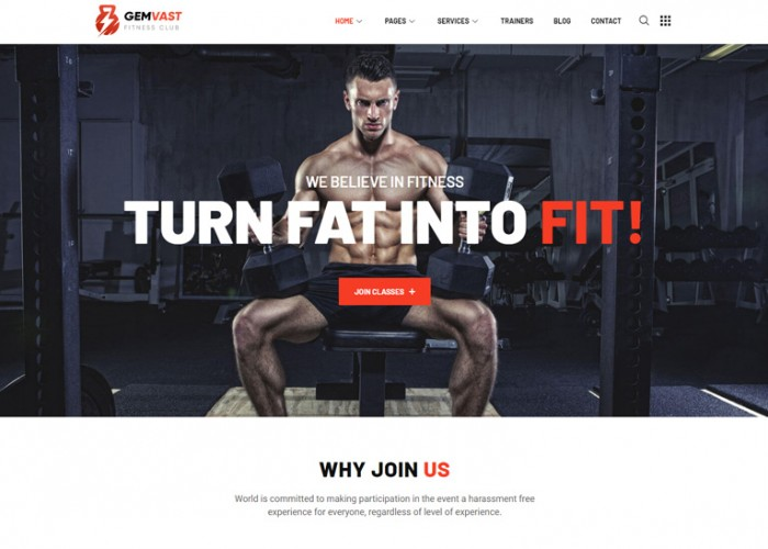 Gemvast – Premium Responsive Gym Fitness Club WordPress Theme
