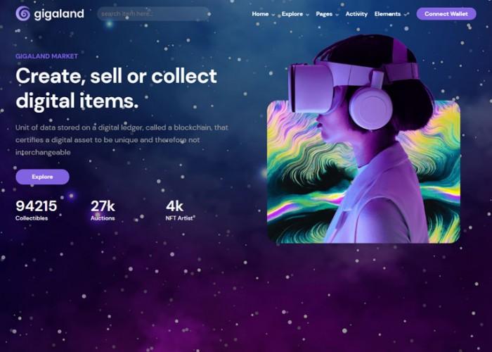 Gigaland – Premium Responsive NFT Marketplace React HTML5 Template