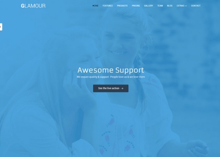 Glamour – Premium Responsive Corporate One Page HTML5 Template