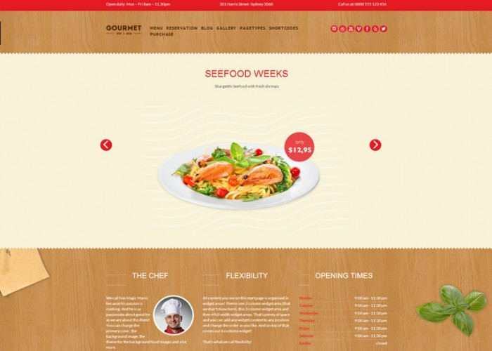 Gourmet – Premium Responsive Retina Restaurant WordPress Theme