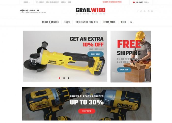 GrailWibo – Premium Responsive Electrical Tools Store Magento 2 Theme