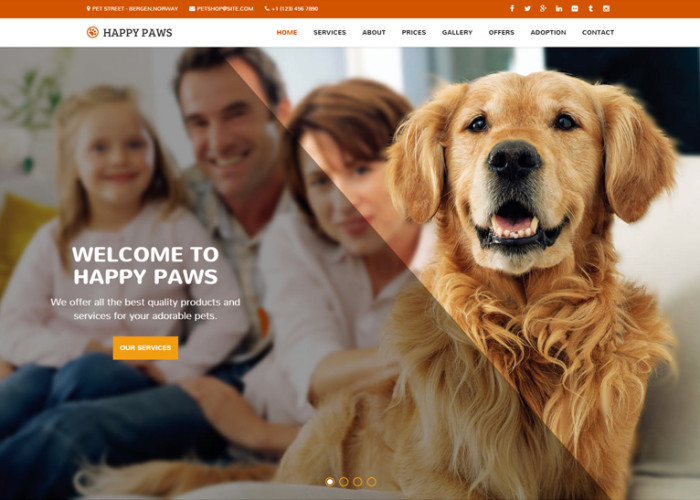 Happy Paws – Premium Responisve Pet One Page HTML5 Template