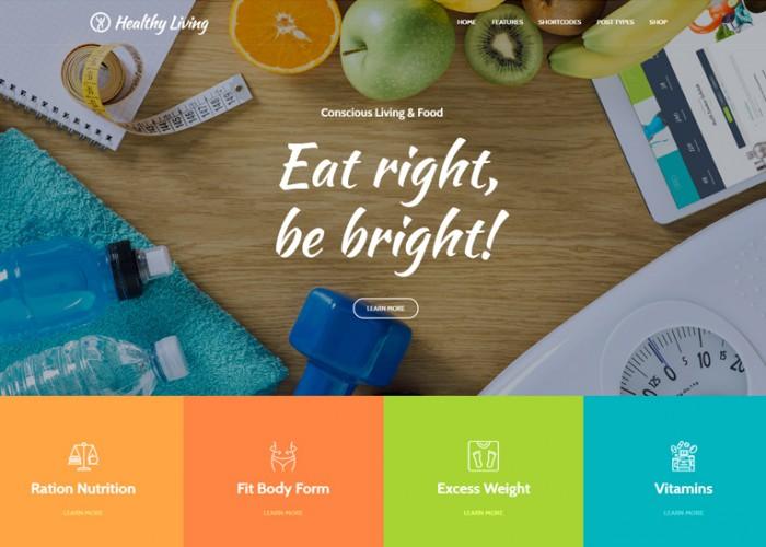 Healthy Living – Premium Responsive Nutrition, Weight Loss & Wellness WordPress Theme