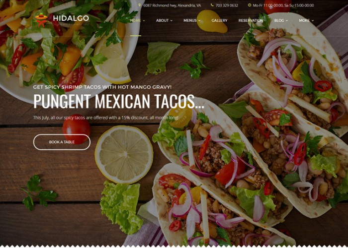 Hidalgo – Premium Responsive Food Restaurant WordPress Theme