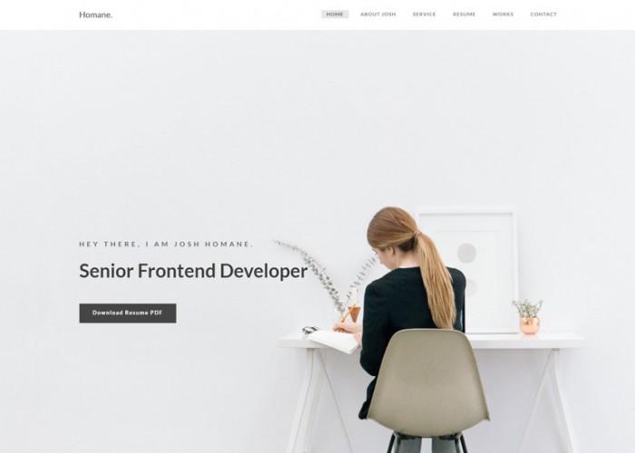 Homane – Premium Responsive Minimal Resume HTML5 Template