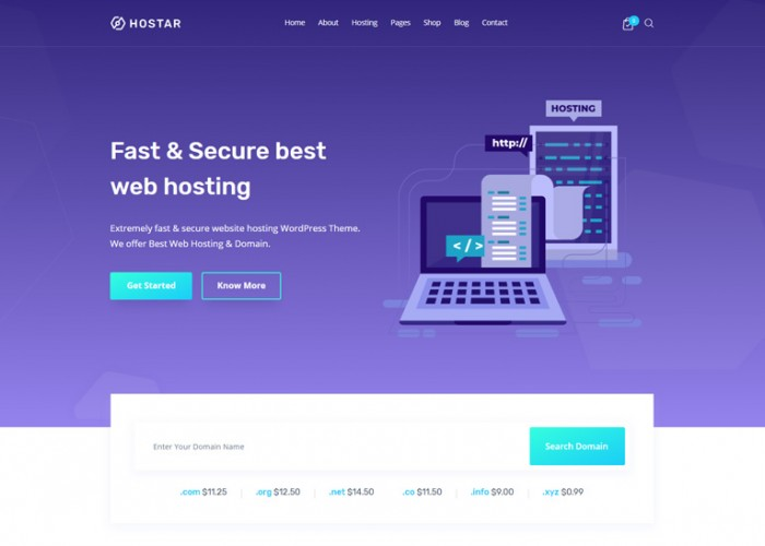 Hostar – Premium Responsive Web Hosting WordPress Theme