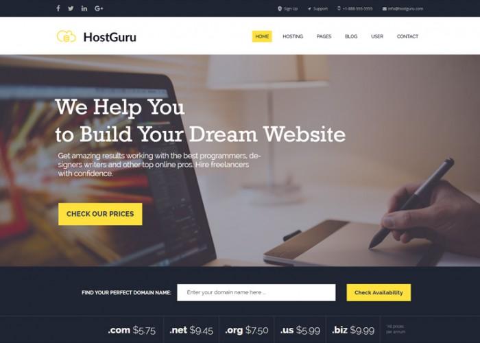 HostGuru – Premium Responsive Hosting Company HTML5 Template