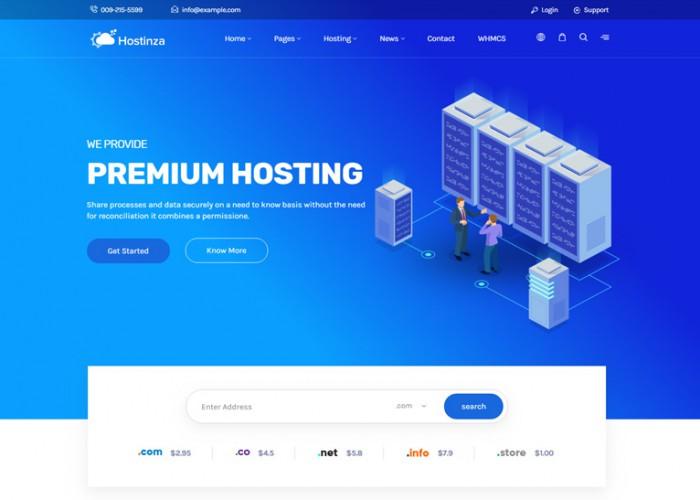 Hostinza – Premium Responsive Web Hosting WordPress Theme