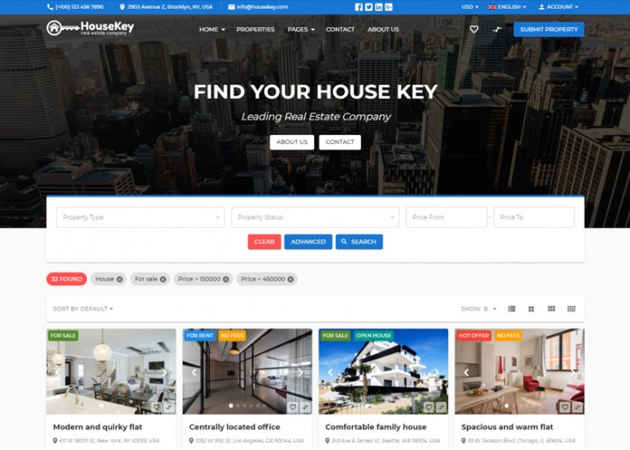 HouseKey – Premium Responsive Real Estate HTML5 Template