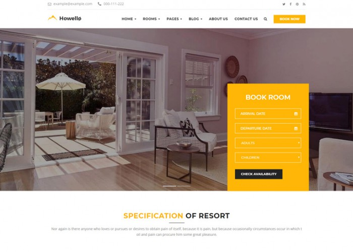 Howello – Premium Responsive Hotel and Resort WordPress Theme