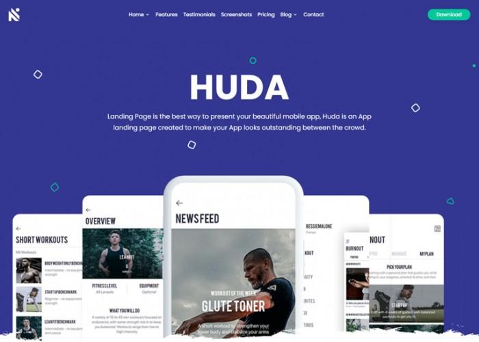 Huda – Premium Responsive App Landing Page HTML5 Template