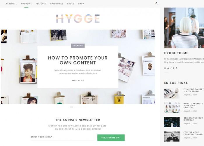 Hygge – Premium Responsive Magazine & Blog WordPress Theme