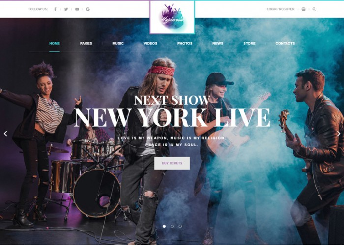 Hyphoria – Premium Resopnsive Rock Band WordPress Theme