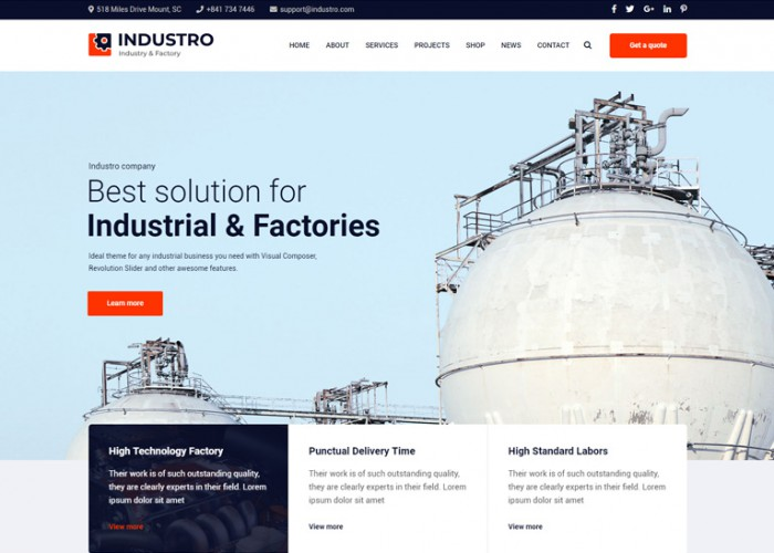 Industro – Premium Responsive Industry WordPress Theme