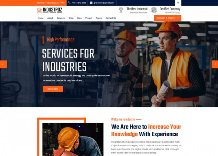 Industroz – Premium Responsive Factory & Industrial WordPress Theme