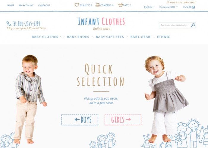 Infant Clothes – Premium Responsive Magento Theme