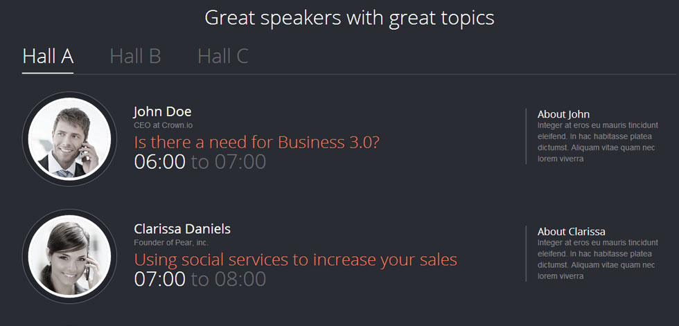 Timetable for Speakers