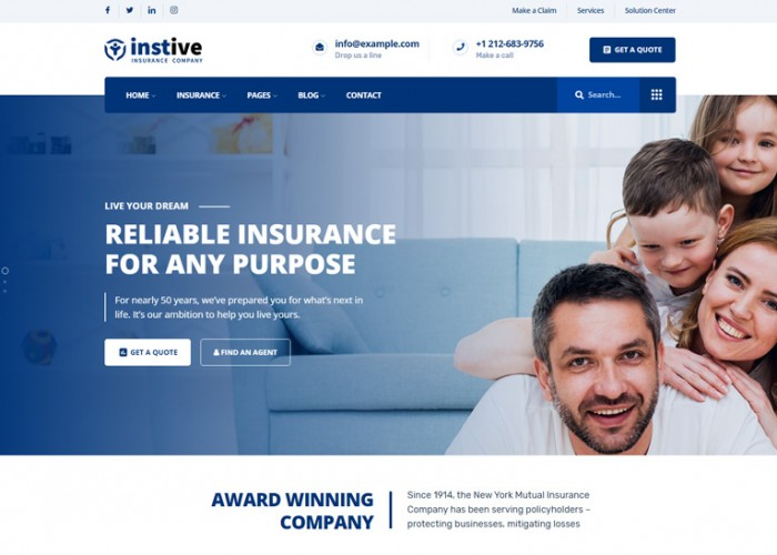 Instive – Premium Responsive Insurance WordPress Theme